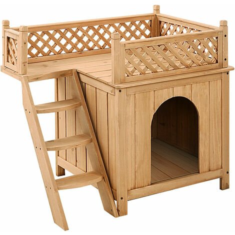 Wooden Dog Cat House Indoor Outdoor Kennel Crate W/ Raised Roof Balcony & Ladder