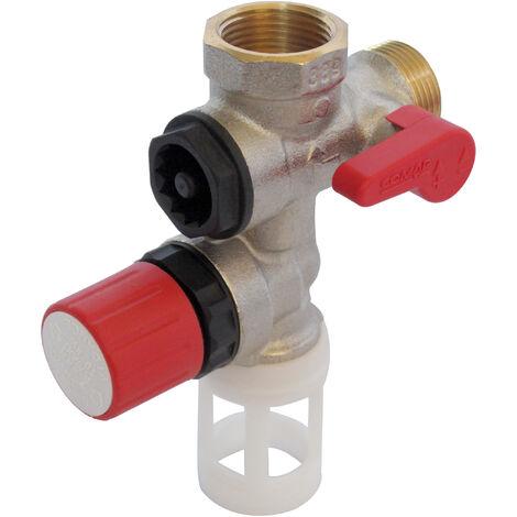 """COMAP Groupe de sécurité 889 laiton droit pour chauffe eau, cumulus - 20x27 ou 3/4"""" - 889006-01"""