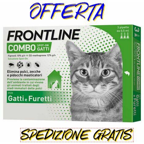 Frontline combo gatto - 3 pipette antiparassitario antizecche antipulci gatti