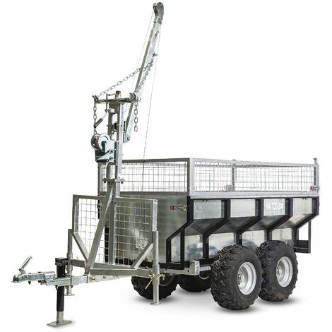 Remorque 1000 kg avec benne galvanisée et grue MW-Tools AHR1000GK