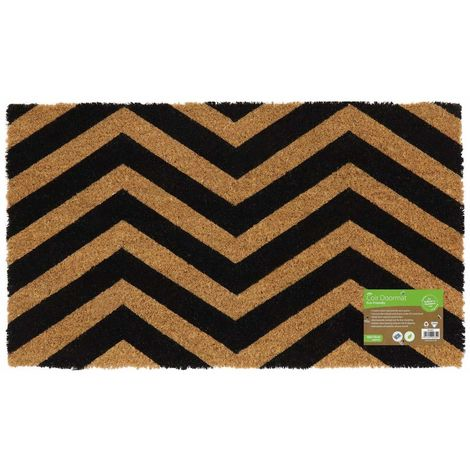 Eco-Friendly Black Pattern Latex Backed Coir Entrance Door Mat, Zig Zag Design
