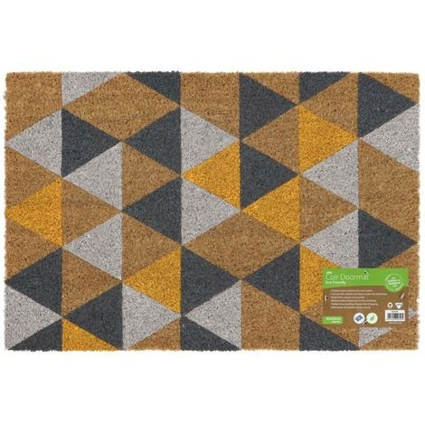 Eco-Friendly Colour Pattern Latex Backed Coir Entrance Door Mat, Geometric Design