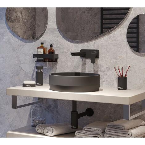 Swiss Aqua Technologies Vasque à poser Infinitio 39 x 39 x 12 cm sans trop-plein, noir (SATINF3939BKM)