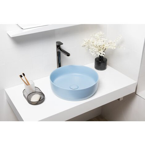 Swiss Aqua Technologies Vasque à poser Infinitio 39 x 39 x 12 cm sans trop-plein, bleu mat (SATINF3939LBLM)