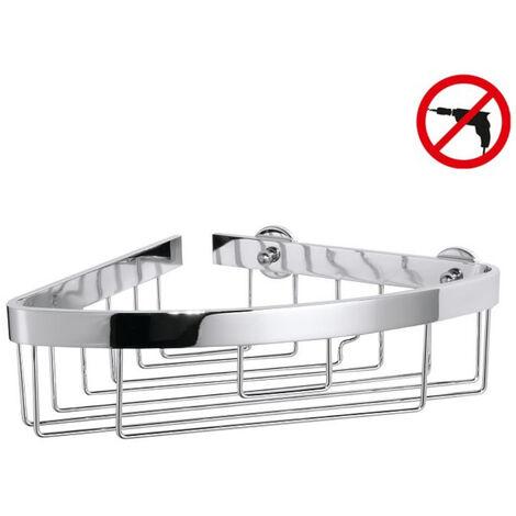 Tesa Aluxx Panier d'angle avec bord large, en aluminium chromé inoxydable, pose facile sans perçage (40209-00000-00)