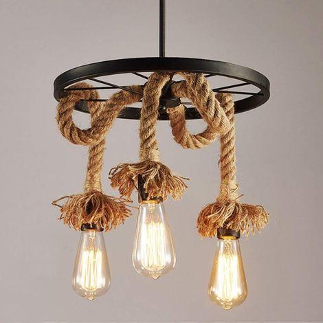 Lustre suspension en corde de chanvre 3 Lampe E27 , Rétro Lampe de plafond roue industrielle pour Restaurant Salon Salle À Manger Bar