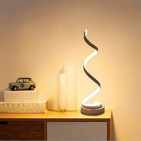 Lampe de Table Spirale LED , incurvée lampe de bureau LED, 12W lumière blanc chaud, creative acrylique LED lampe de modélisation parfaite pour chambre à coucher salon (blanc)