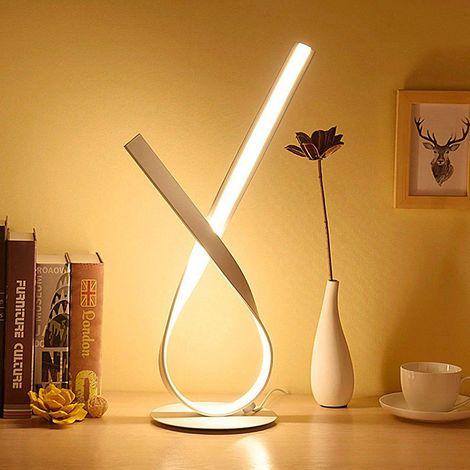 Lampe de table 12W LED Lampe de chevet avec variateur facile - Blanc