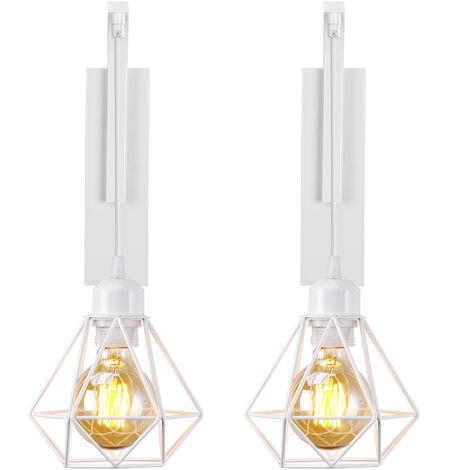 2x Créative applique murale en bois , Lustre suspension rétro cage en forme diamant moderne salon chambre cuisine noir