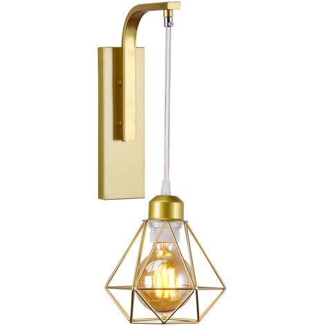 2x Applique murale en fer bois , Créative Lustre suspension rétro cage en forme diamant moderne salon chambre cuisine noir