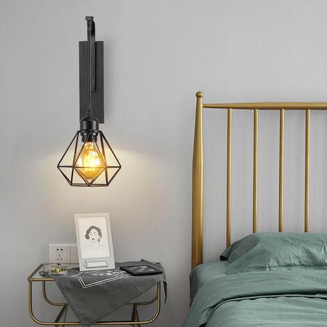 2x Applique murale luminaire vintage design rétro en fer bois E27 lustre suspension éclairage intérieur salon chambre cuisine noir