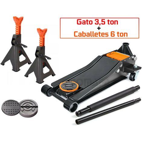 JUEGO GATO CARRETILLA 3,5 TON 3500 Kg CON PEDAL + 2 CABALLETES 6 TON