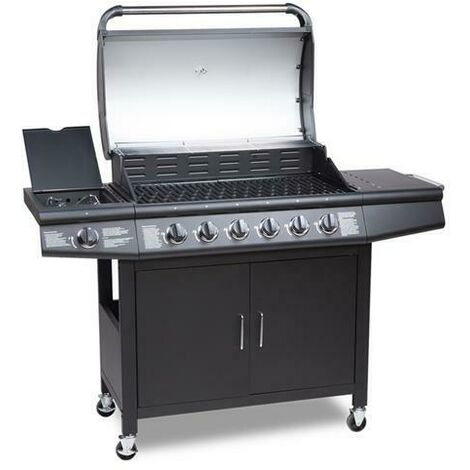 CosmoGrill 6+1 Deluxe Gas Burner Grill Barbecue Incl. Side Burner With Cover