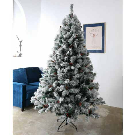 Evre Snowy White Spruce 8ft Artificial Christmas Tree With Pine Cones & Berries
