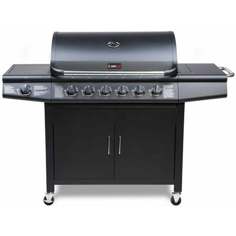 CosmoGrill 6+1 Deluxe Gas Burner Grill Barbecue Incl. Side Burner - Black 77 x 42 cm