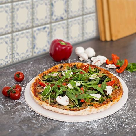 CosmoGrill Pizza Stone 30 cm Diameter for Baking Oven & Barbecue BBQ Round