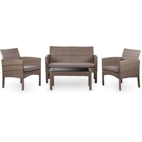 Conjunto de jardin 4 plazas, ratan sintetico marron, mesa de centro exterior + sofa 2 plazas + 2 sillones con cojines impermeables, set muebles para jardin, terraza, balcon o patio, resistente a los rayos UV