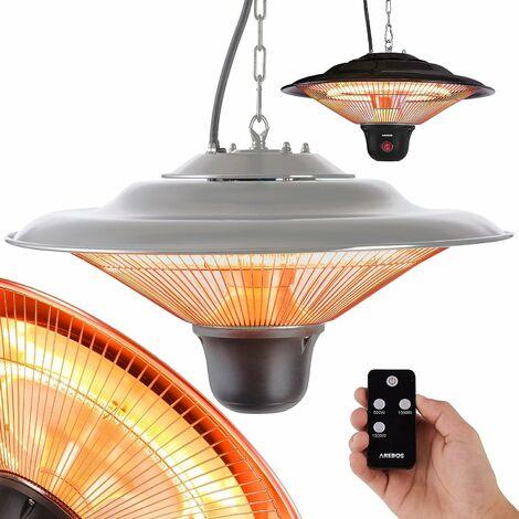 AREBOS Chauffage Electrique Infrarouge Plafond avec télécommande 1500 W - Radiateur de Terrasse - argent