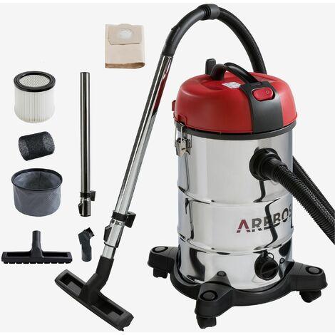 Arebos Industriel Aspirateur 1800W 30L - noir/rouge
