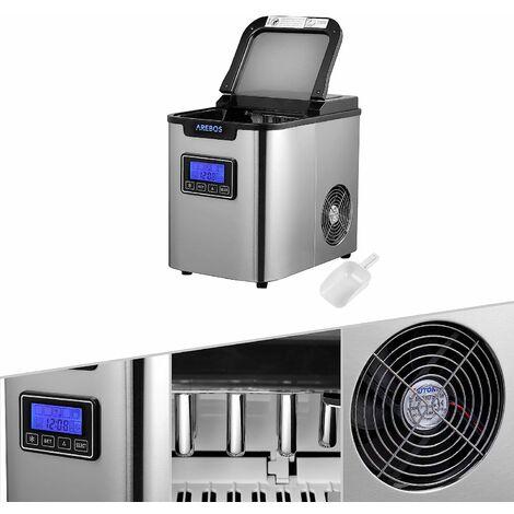 AREBOS Machine à Glaçons en Acier Inoxydable 2,2L LCD Icemaker 12KG/24H