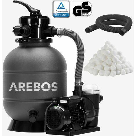 AREBOS Système de Filtre à Sable avec Pompe Filtre à Sable Pompe Filtre Système - Gris