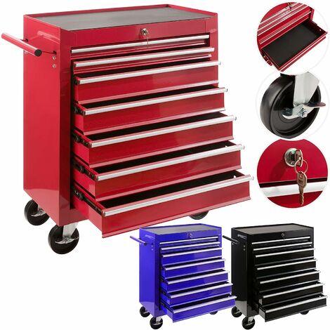Servante Caisse à outils d'atelier 7 tiroirs tools chest chariot rouge - rouge