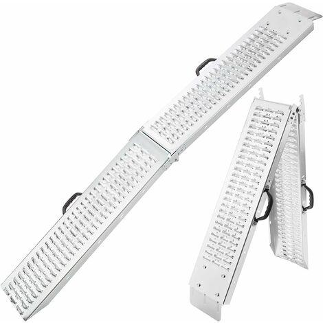 AREBOS 2x Rampe Pliable 400 kg Rampe de Chargement rampe rail contrôle rampes - Argento