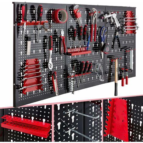 AREBOS Mur d'outils Mur l'atelier Atelier 3 : parois perforées Jeu crochets 17 pièces - Rouge / Noir