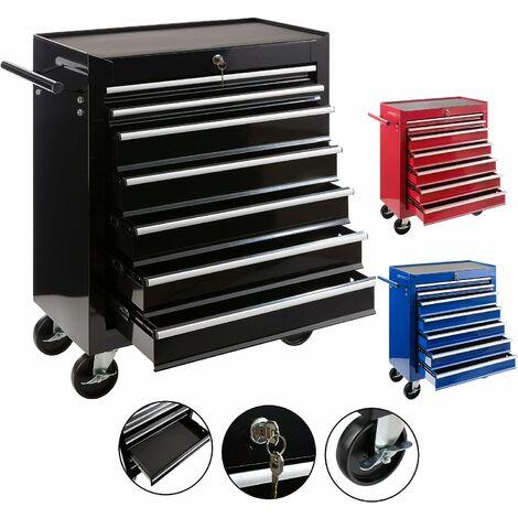AREBOS Servante Caisse à outils d'atelier 7 tiroirs tools chest chariot noir - noir