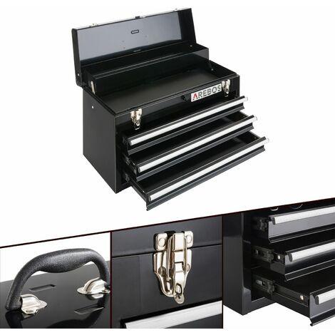 AREBOS Boîte à Outils 3 Tiroirs Noir - noir
