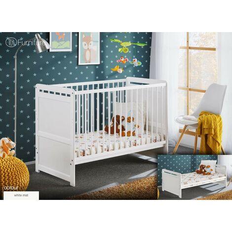 Lettino culla bambini neonati 3 posizioni cm 124 x 67 x 57h colore bianco - Bim Forniture