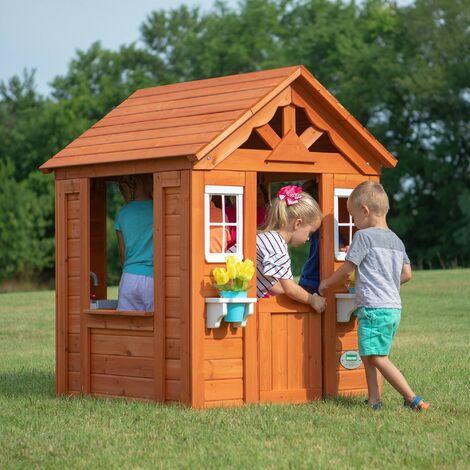 Backyard Discovery Timberlake maison enfant en bois | Maison de jeux pour l'extérieur / jardin | Maisonnette / Cabane de jeu avec cuisine et accessoires
