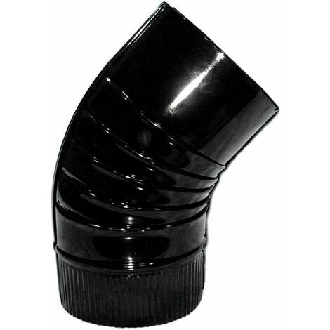 Codo Estufa Color Negro Vitrificado de 130 mm. 45°.