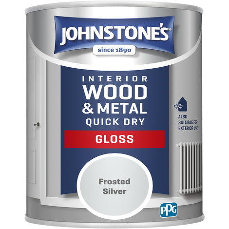 Johnstones 750ml Quick Dry Gloss Paint - Frosted Silver