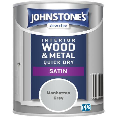 Johnstones 750ml Quick Dry Satin Paint - Manhattan Grey