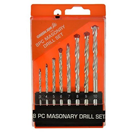 Green Jem Htdr8m Masonry Drill Bit, 0 V, Silver, Set Of 8 Piece