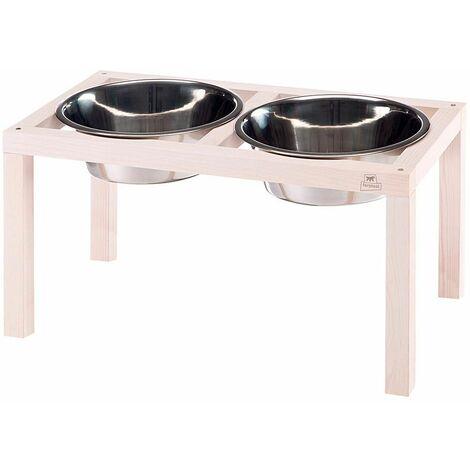 Ferplast DESCO WOOD Portaciotole in legno con ciotole in acciaio Inox per cani e gatti. Tre misure.