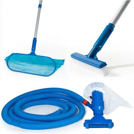 Kit d'entretien pour piscine avec 5 accessoires de nettoyage
