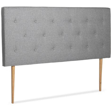 Tete de lit scandinave capitonnée Alta 140 cm tissu gris clair