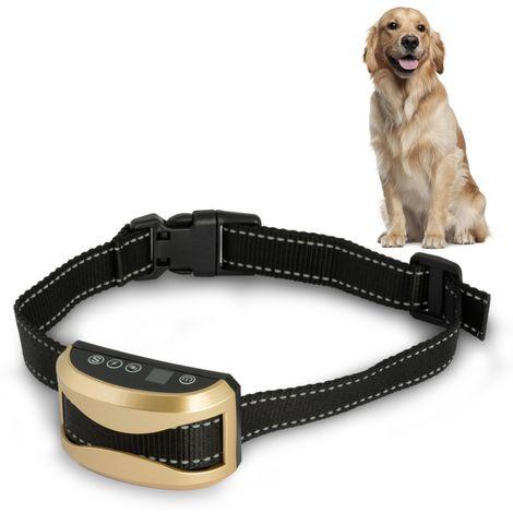 Collier anti aboiement pour chien 3 modes son, vibration et choc boîtier rechargeable