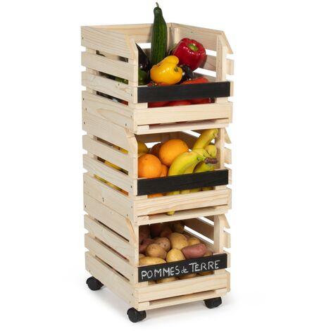 Lot de 3 clayettes en bois empilables pour fruits et légumes