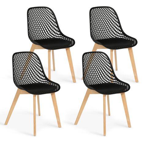 Lot de 4 chaises MANDY noires pour salle à manger