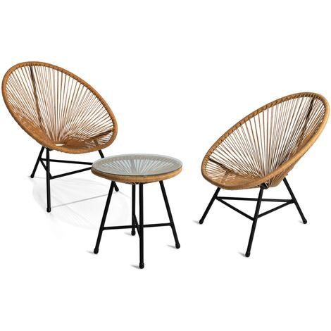 Salon de jardin IZMIR table et 2 fauteuils oeuf effet rotin