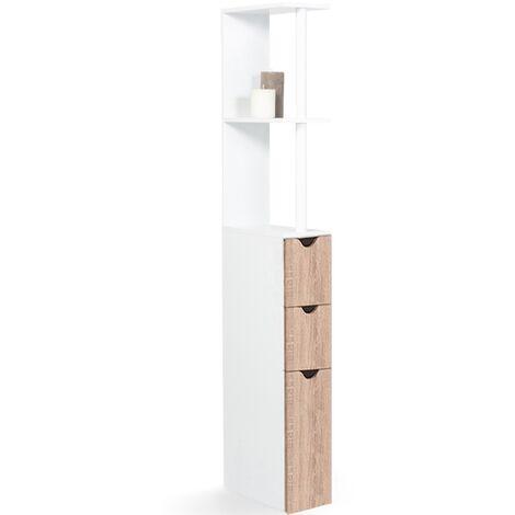Meuble WC étagère WILLY bois 3 portes coloris hêtre gain de place pour toilettes