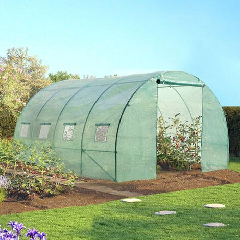 Serre tunnel de jardin 12 m² verte gamme maraichère ZEBRA 4x3M