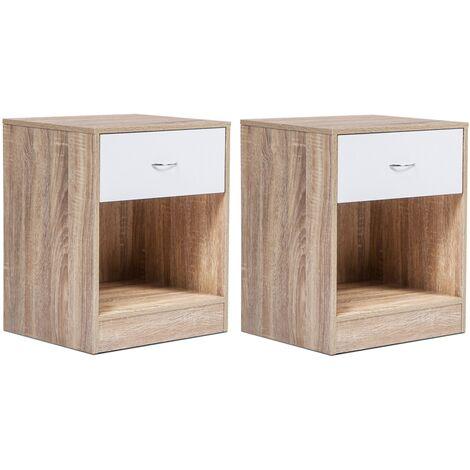 Lot de 2 tables de chevet bois OLGA façon hêtre tiroir blanc
