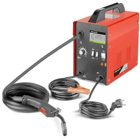 Soudeur MIG130. Soudage en fil continu. Puissance entre 35A-130A. Tension 230V. Diamètres des fils 0,6mm-0,8mm - Greencut