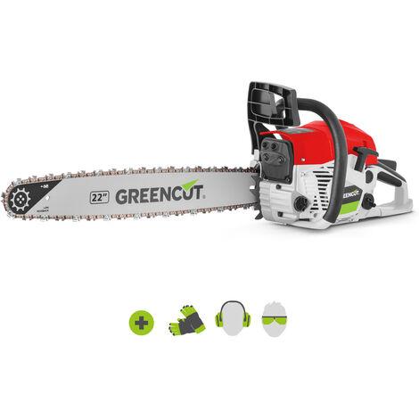 Tronconneuse GS680X moteur à essence 2 temps 68cc 3,9cv. Épée de 22 pouces. Nombre de dents 86. Guidon ergonomique. - Greencut