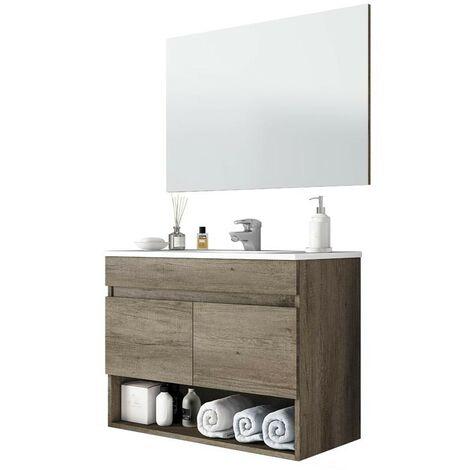 Mueble baño con espejo 2 puertas y hueco abierto 80x45x64 cm (Lavamanos opcional)