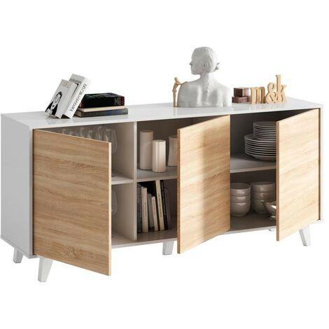 Aparador buffet 3 puertas estilo nórdico blanco y roble de salón comedor 154x75 cm